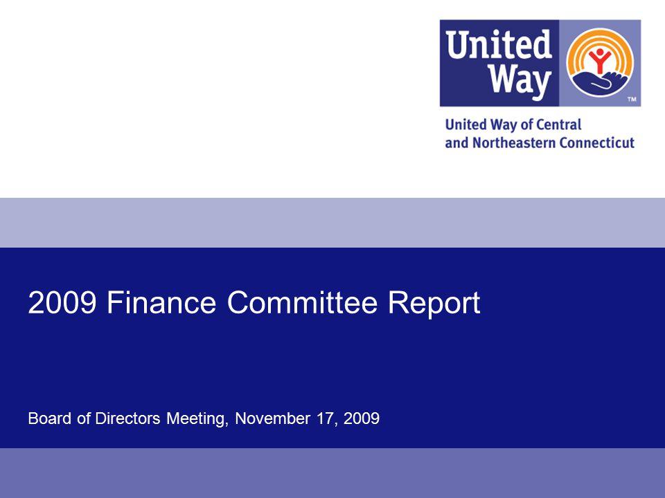 Board of Directors Meeting, November 17, 2009 2009 Finance Committee Report