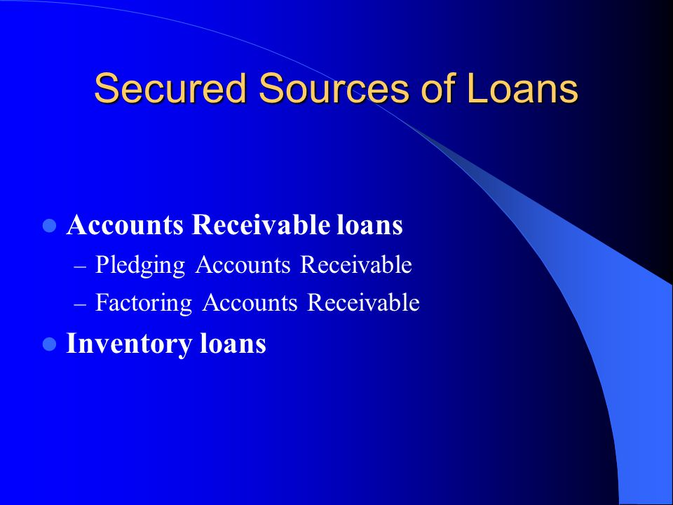 Secured Sources of Loans Accounts Receivable loans – Pledging Accounts Receivable – Factoring Accounts Receivable Inventory loans