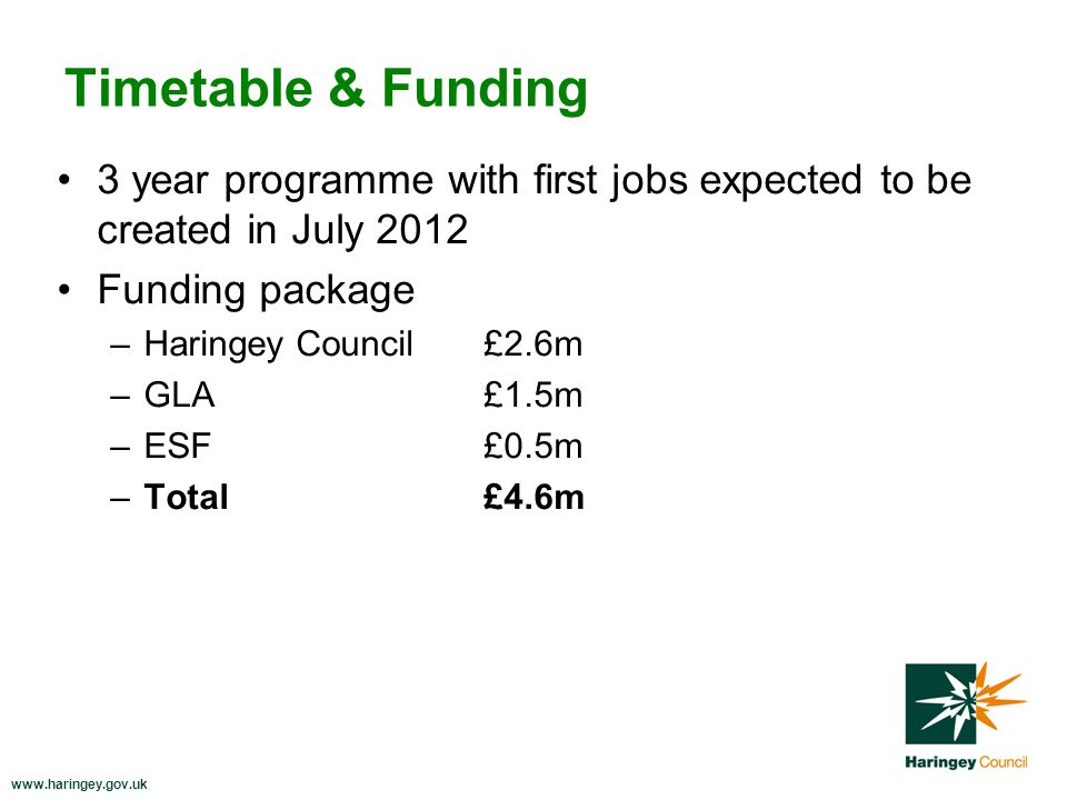 www.haringey.gov.uk Timetable & Funding 3 year programme with first jobs expected to be created in July 2012 Funding package –Haringey Council£2.6m –GLA£1.5m –ESF£0.5m –Total £4.6m