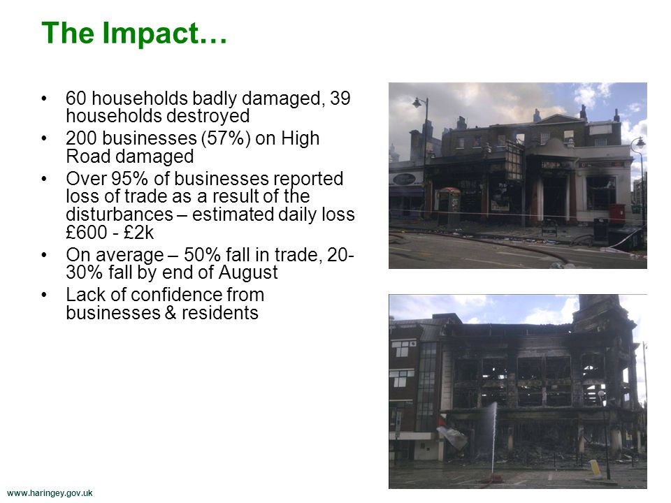 60 households badly damaged, 39 households destroyed 200 businesses (57%) on High Road damaged Over 95% of businesses reported loss of trade as a result of the disturbances – estimated daily loss £600 - £2k On average – 50% fall in trade, 20- 30% fall by end of August Lack of confidence from businesses & residents The Impact…