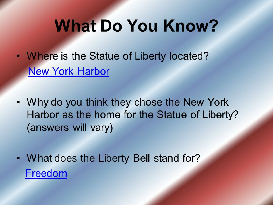 What Do You Know.Where is the Statue of Liberty located.