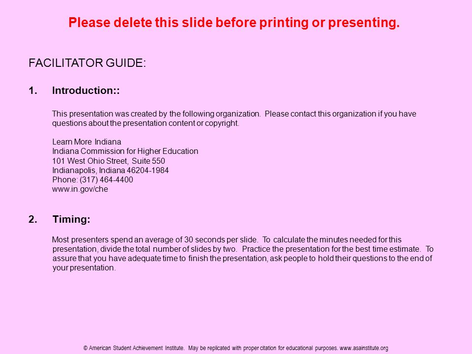 Please delete this slide before printing or presenting. FACILITATOR GUIDE: 1.Introduction:: This presentation was created by the following organizatio