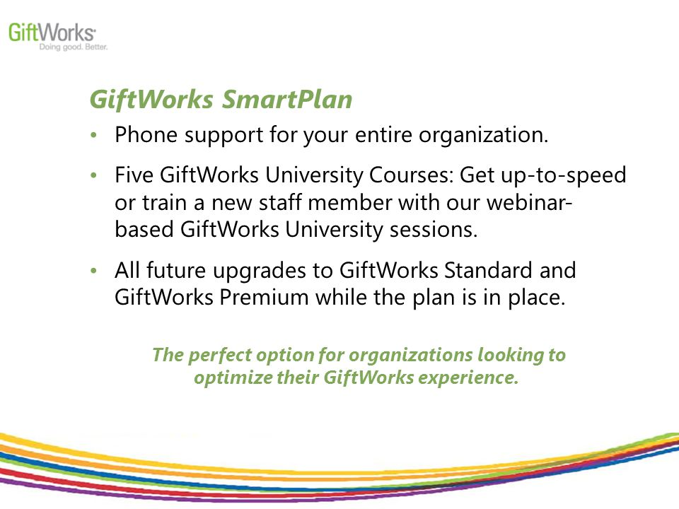 GiftWorks SmartPlan Phone support for your entire organization.