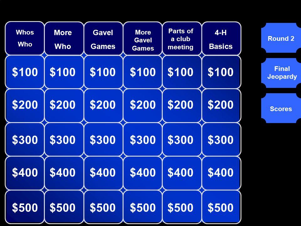 Round 1Round 2 Final Jeopardy Tim's Troop Darla's Darlings Gail's Group