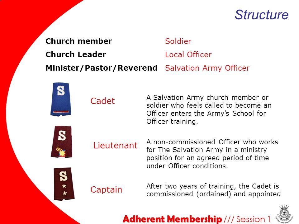 Adherent Membership Adherent Membership /// Session 1 Church memberSoldier Church LeaderLocal Officer Minister/Pastor/ReverendSalvation Army Officer S