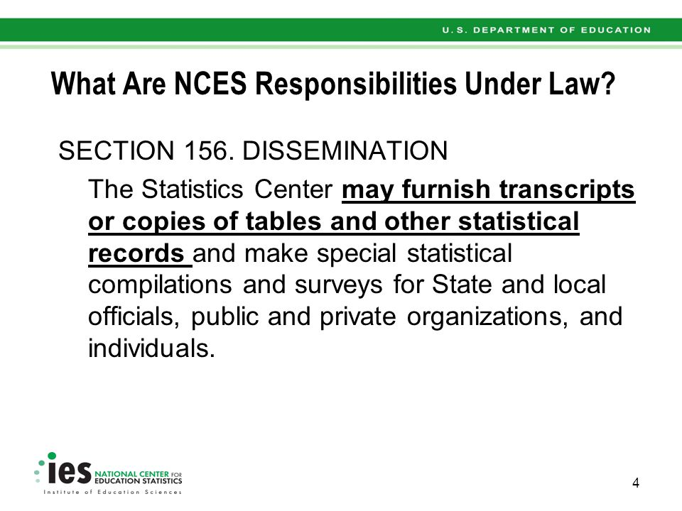 What Are NCES Authorities Under Law.