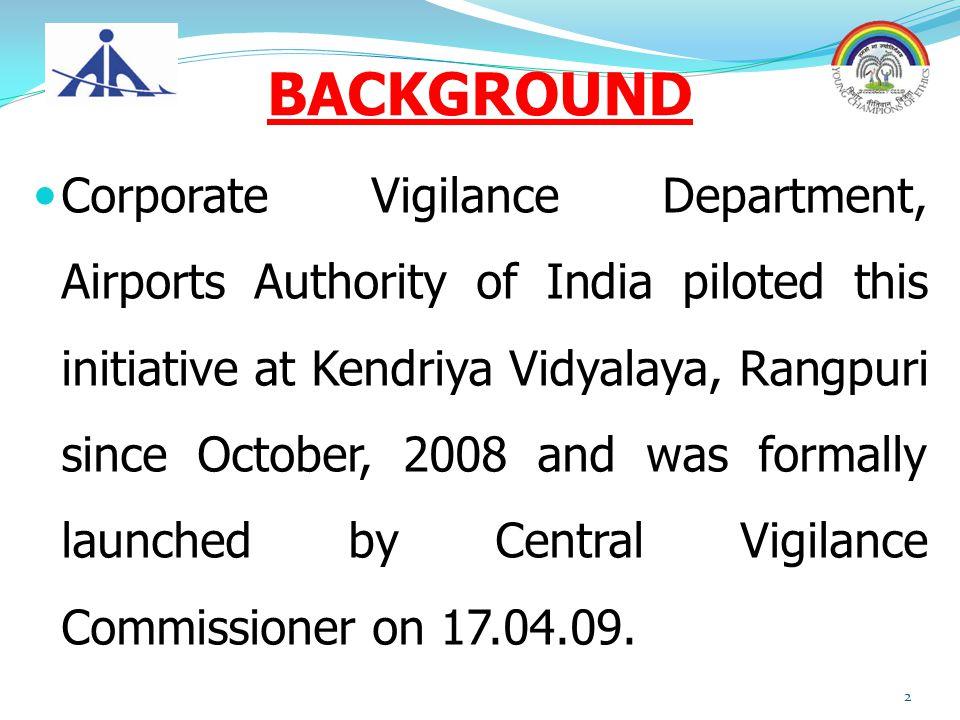 BACKGROUND Corporate Vigilance Department, Airports Authority of India piloted this initiative at Kendriya Vidyalaya, Rangpuri since October, 2008 and