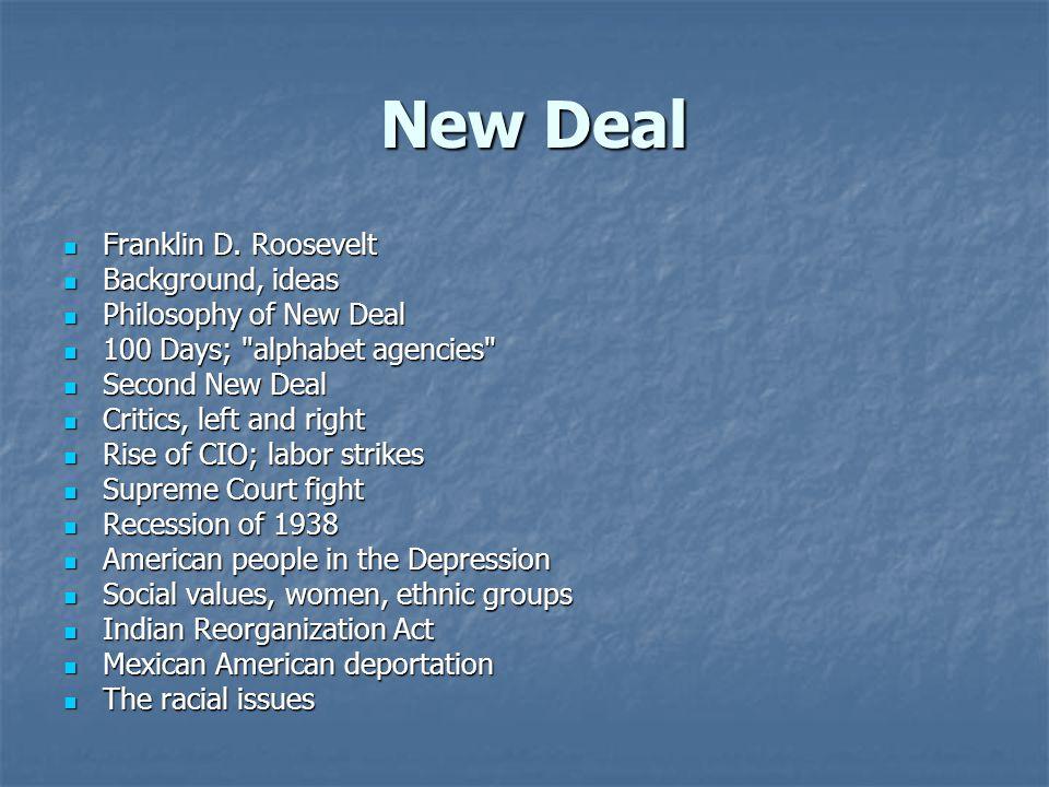 New Deal New Deal Franklin D. Roosevelt Franklin D. Roosevelt Background, ideas Background, ideas Philosophy of New Deal Philosophy of New Deal 100 Da