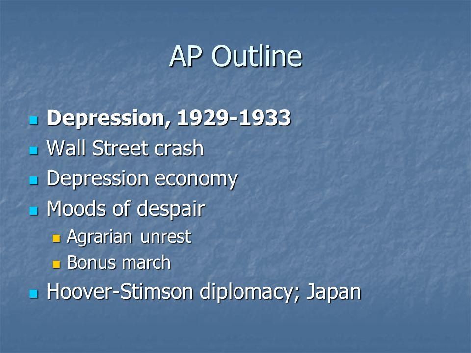 AP Outline Depression, 1929-1933 Depression, 1929-1933 Wall Street crash Wall Street crash Depression economy Depression economy Moods of despair Mood