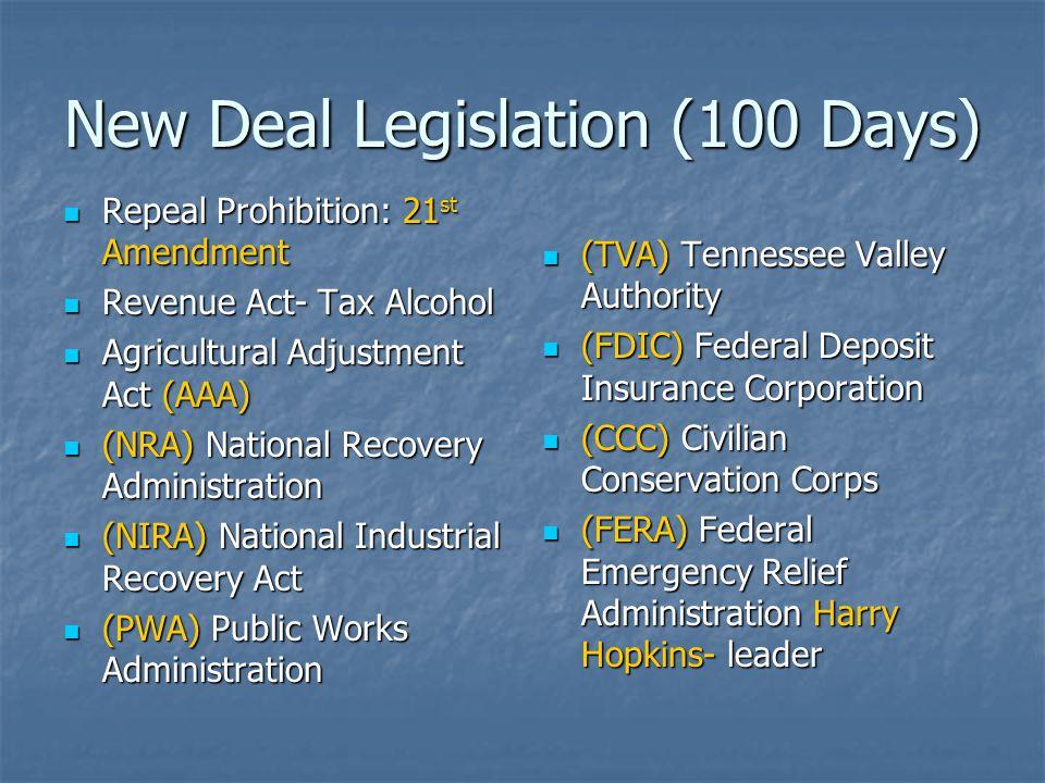 New Deal Legislation (100 Days) Repeal Prohibition: 21 st Amendment Repeal Prohibition: 21 st Amendment Revenue Act- Tax Alcohol Revenue Act- Tax Alco