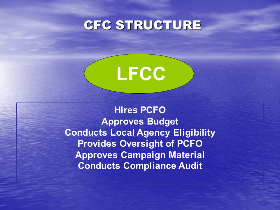 CFC STRUCTURE Leadership Element of LFCC Members from Federal Community (Federal Civilians, Military & Postal) Final Campaign Decisions Liaison to Federal Agency Heads CABINET LFCC