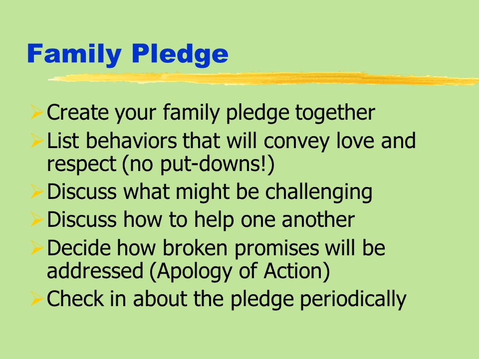 Family Pledge  Create your family pledge together  List behaviors that will convey love and respect (no put-downs!)  Discuss what might be challenging  Discuss how to help one another  Decide how broken promises will be addressed (Apology of Action)  Check in about the pledge periodically