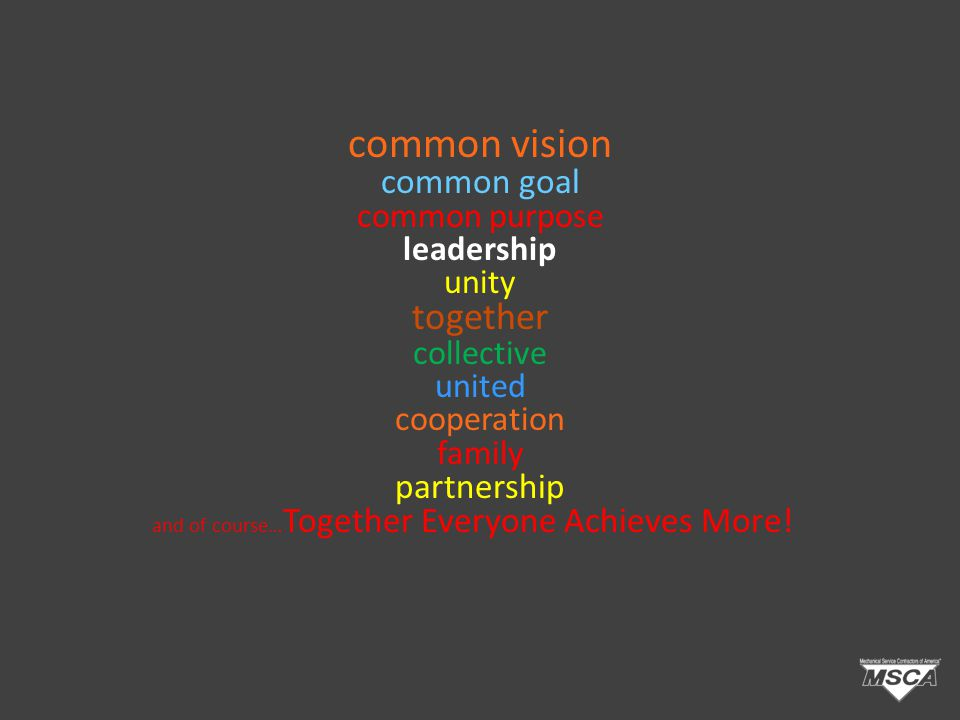 common vision common goal common purpose leadership unity together collective united cooperation family partnership and of course… Together Everyone Achieves More!