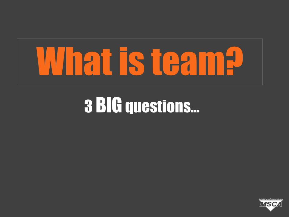 3 BIG questions… What is team