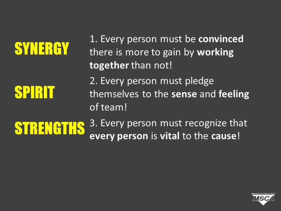 STRENGTHS 1. Every person must be convinced there is more to gain by working together than not.