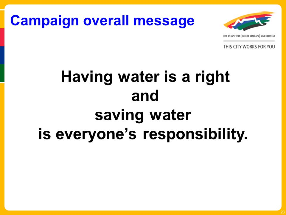 Campaign overall message 23 Having water is a right and saving water is everyone's responsibility.