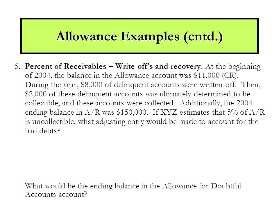 5. Percent of Receivables – Write off ' s and recovery.