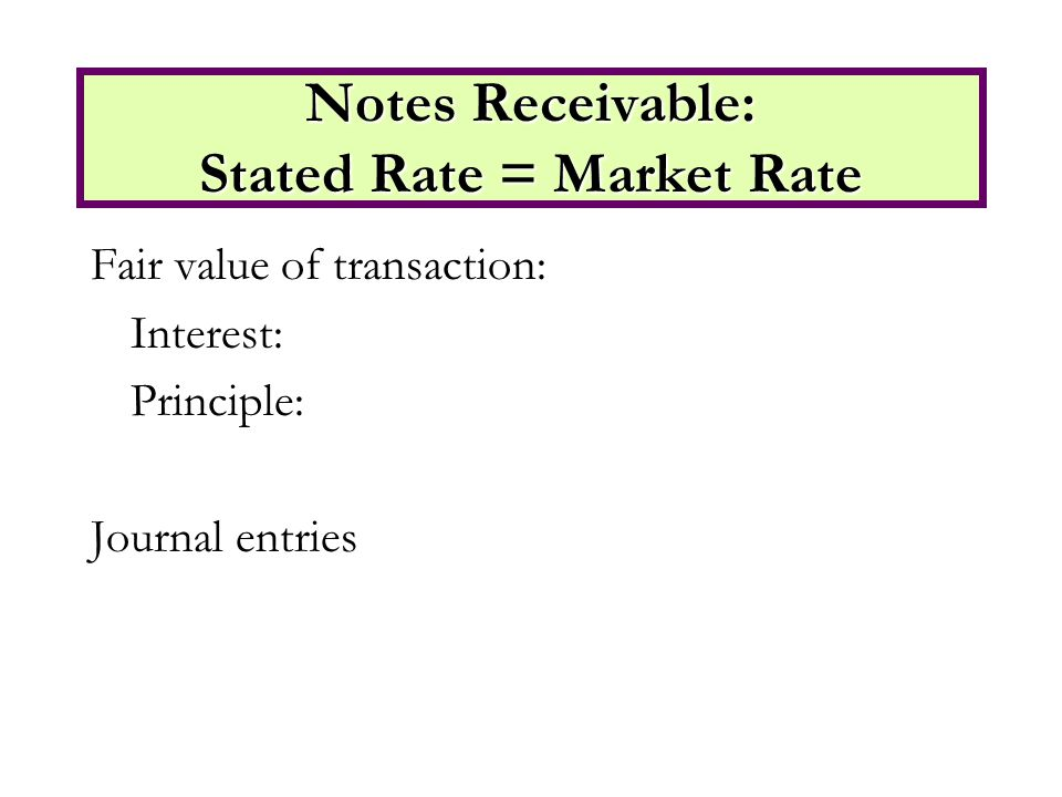 Fair value of transaction: Interest: Principle: Journal entries Notes Receivable: Stated Rate = Market Rate