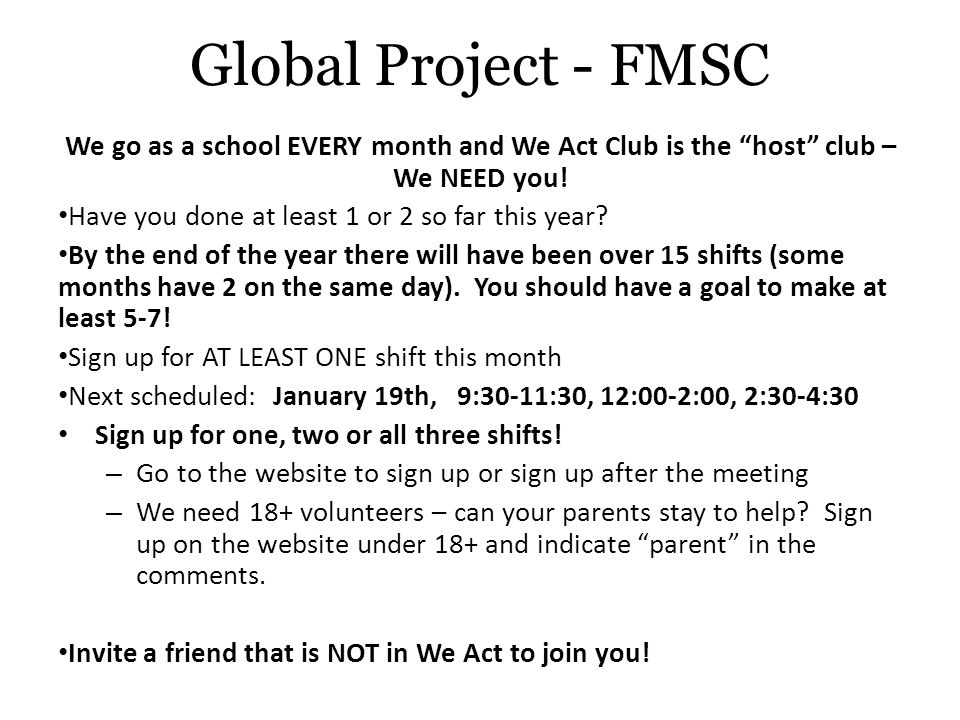Global Project - FMSC Fund Raising starts now.