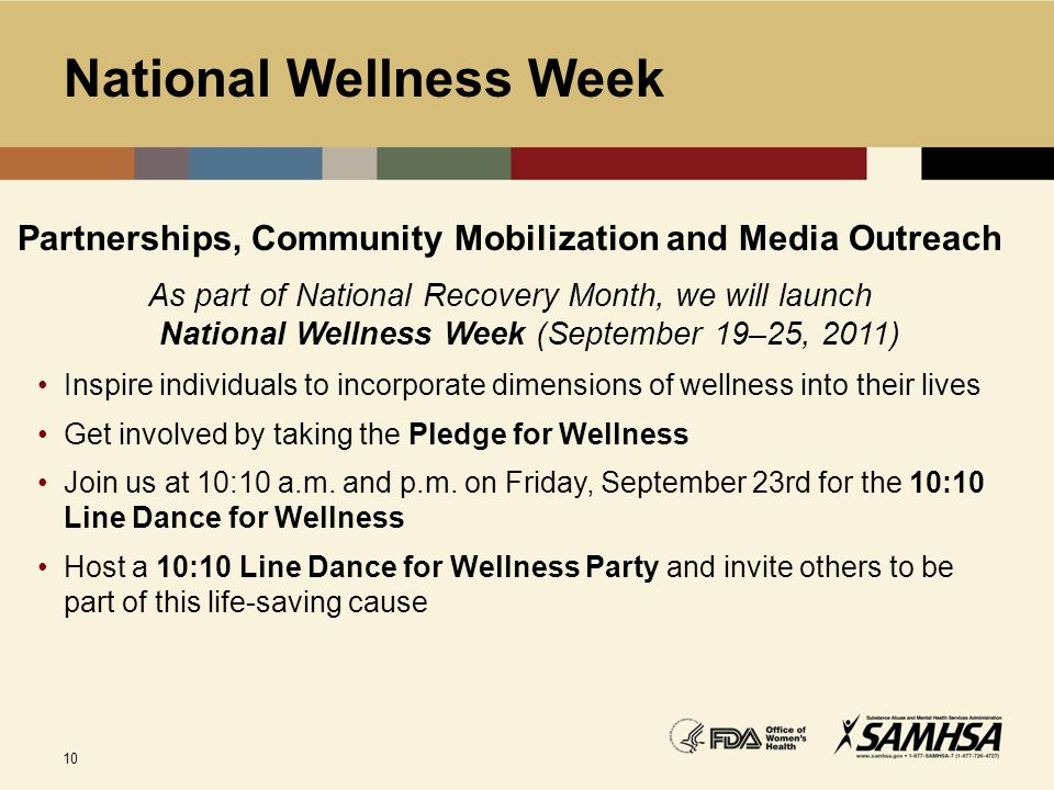 10 National Wellness Week Partnerships, Community Mobilization and Media Outreach As part of National Recovery Month, we will launch National Wellness