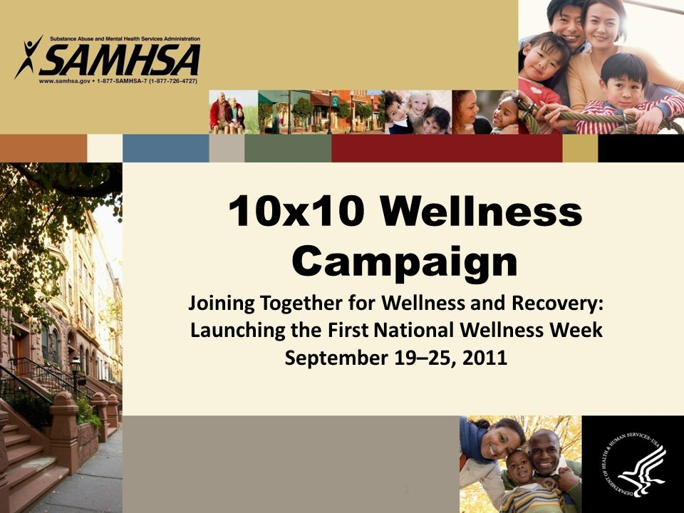 2 10x10 Wellness Campaign Joining Together for Wellness and Recovery: Launching the First National Wellness Week September 19–25, 2011