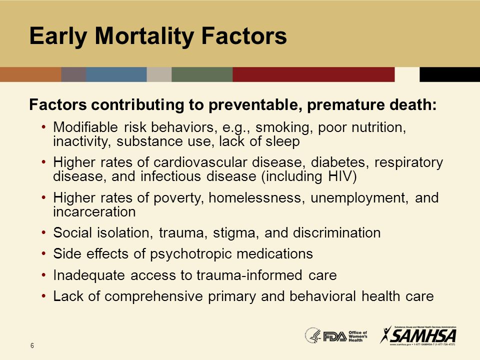 6 Early Mortality Factors Factors contributing to preventable, premature death: Modifiable risk behaviors, e.g., smoking, poor nutrition, inactivity,