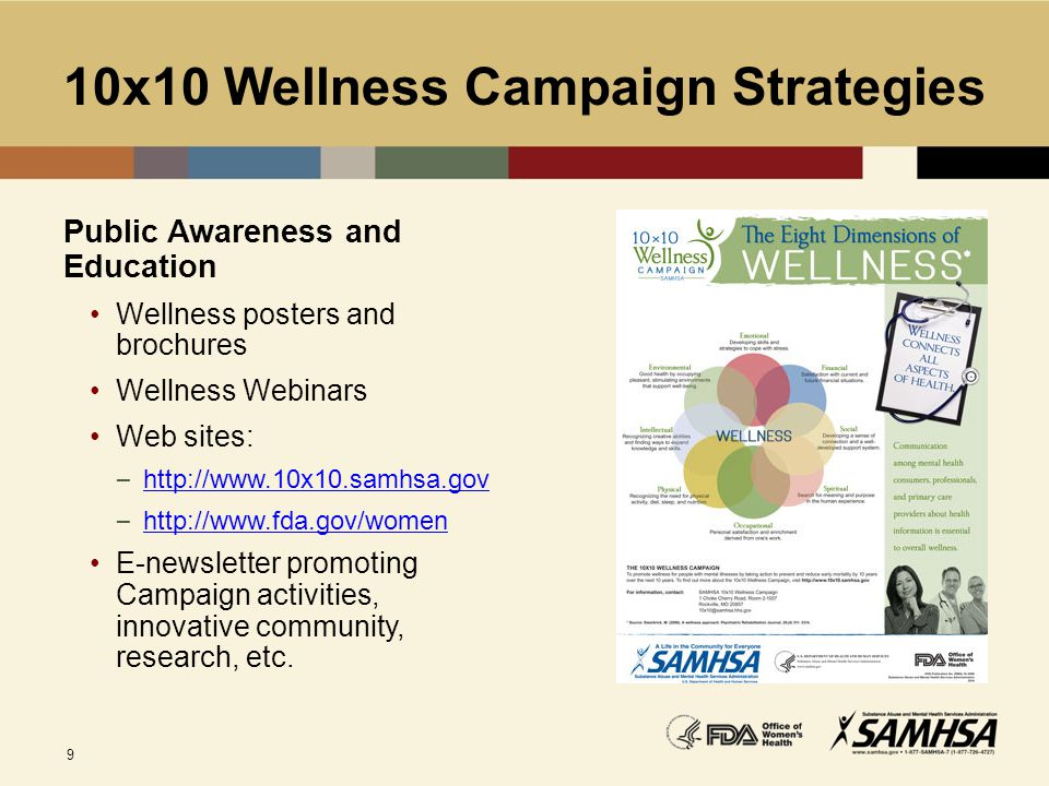 9 10x10 Wellness Campaign Strategies Public Awareness and Education Wellness posters and brochures Wellness Webinars Web sites: – http://www.10x10.sam