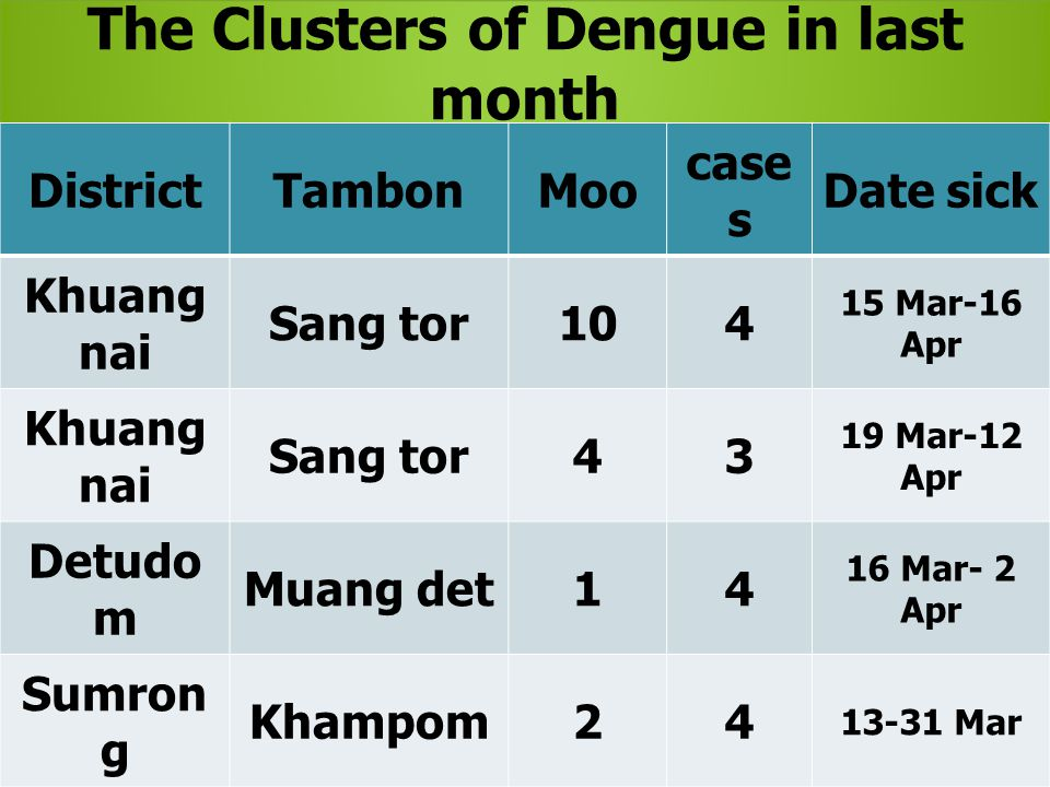 The Clusters of Dengue in last month DistrictTambonMoo case s Date sick Khuang nai Sang tor104 15 Mar-16 Apr Khuang nai Sang tor43 19 Mar-12 Apr Detud