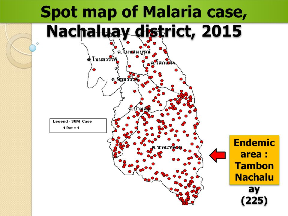 Spot map of Malaria case, Nachaluay district, 2015 Endemic area : Tambon Nachalu ay (225) Endemic area : Tambon Nachalu ay (225)