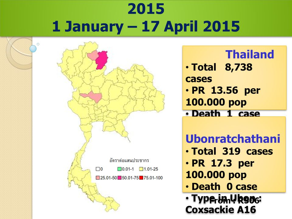 From : R506 Prevalence rate of HFMD. in Thailand, 2015 1 January – 17 April 2015 Prevalence rate of HFMD. in Thailand, 2015 1 January – 17 April 2015