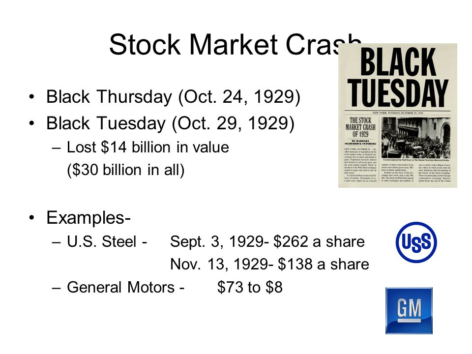 Stock Market Crash Black Thursday (Oct. 24, 1929) Black Tuesday (Oct.