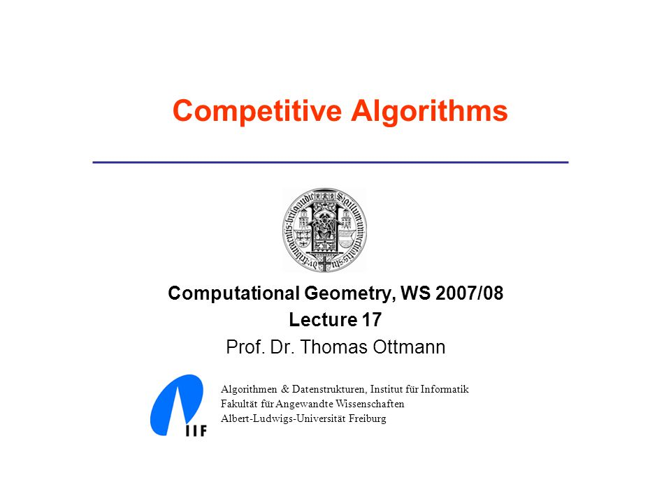 Computational Geometry, WS 2007/08 Lecture 17 Prof.