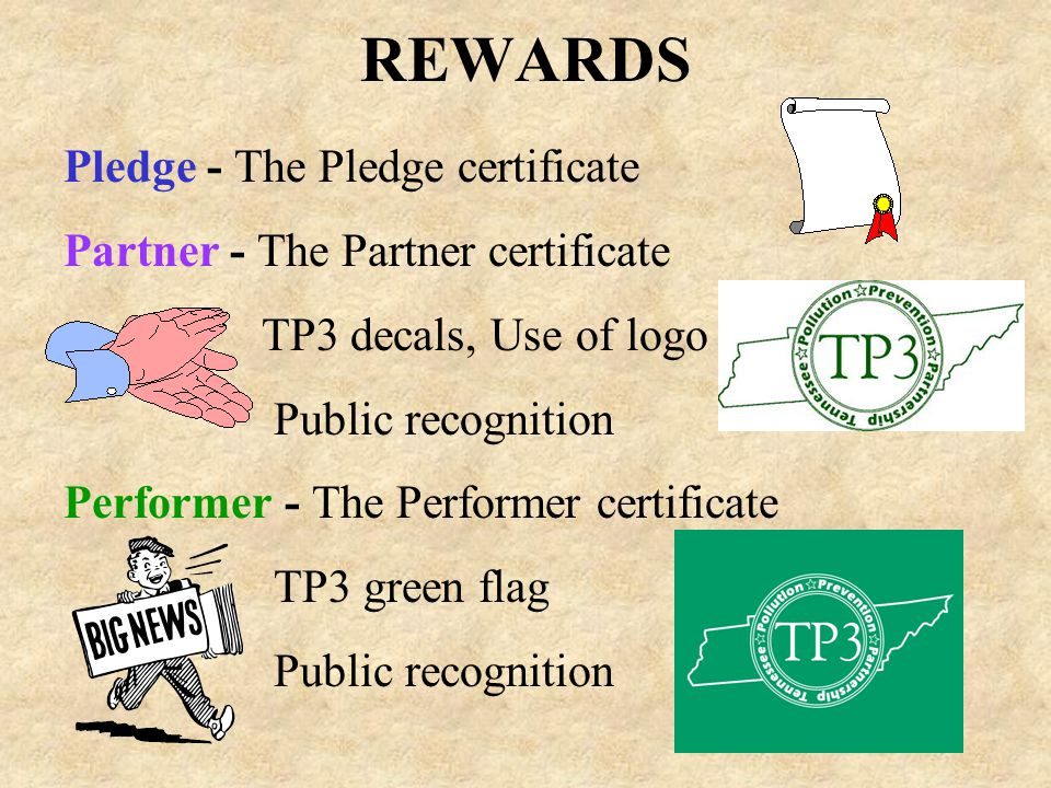 REWARDS Pledge - The Pledge certificate Partner - The Partner certificate TP3 decals, Use of logo Public recognition Performer - The Performer certificate TP3 green flag Public recognition