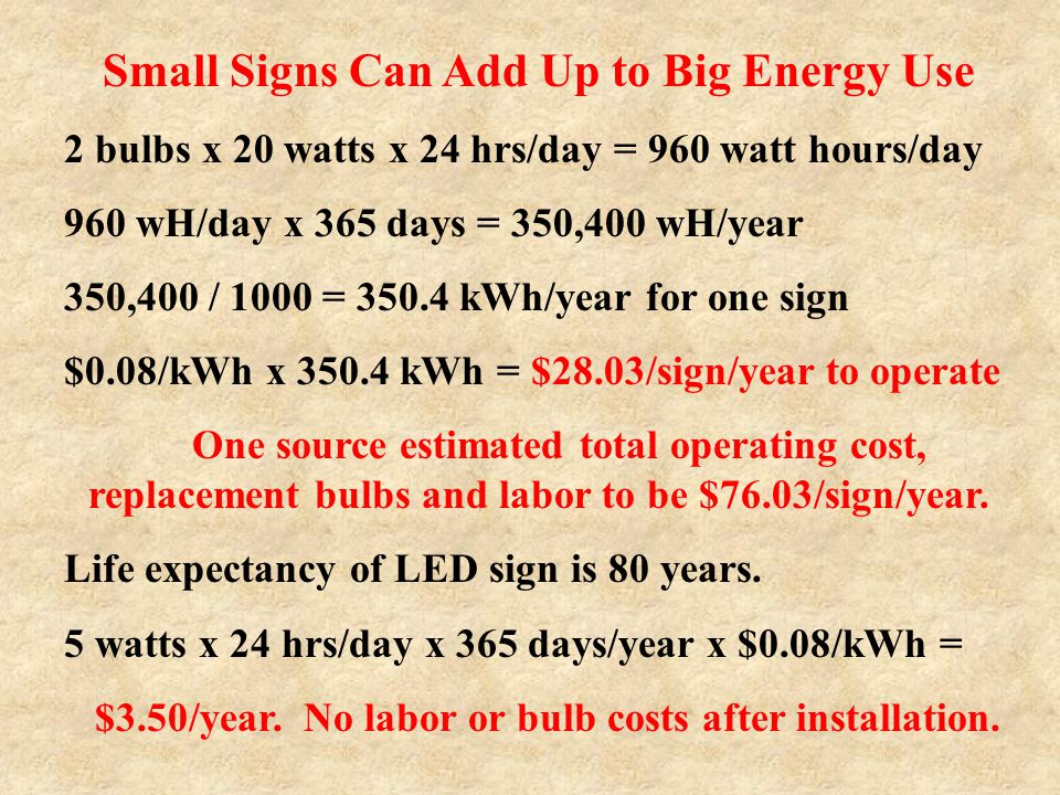 Small Signs Can Add Up to Big Energy Use 2 bulbs x 20 watts x 24 hrs/day = 960 watt hours/day 960 wH/day x 365 days = 350,400 wH/year 350,400 / 1000 =