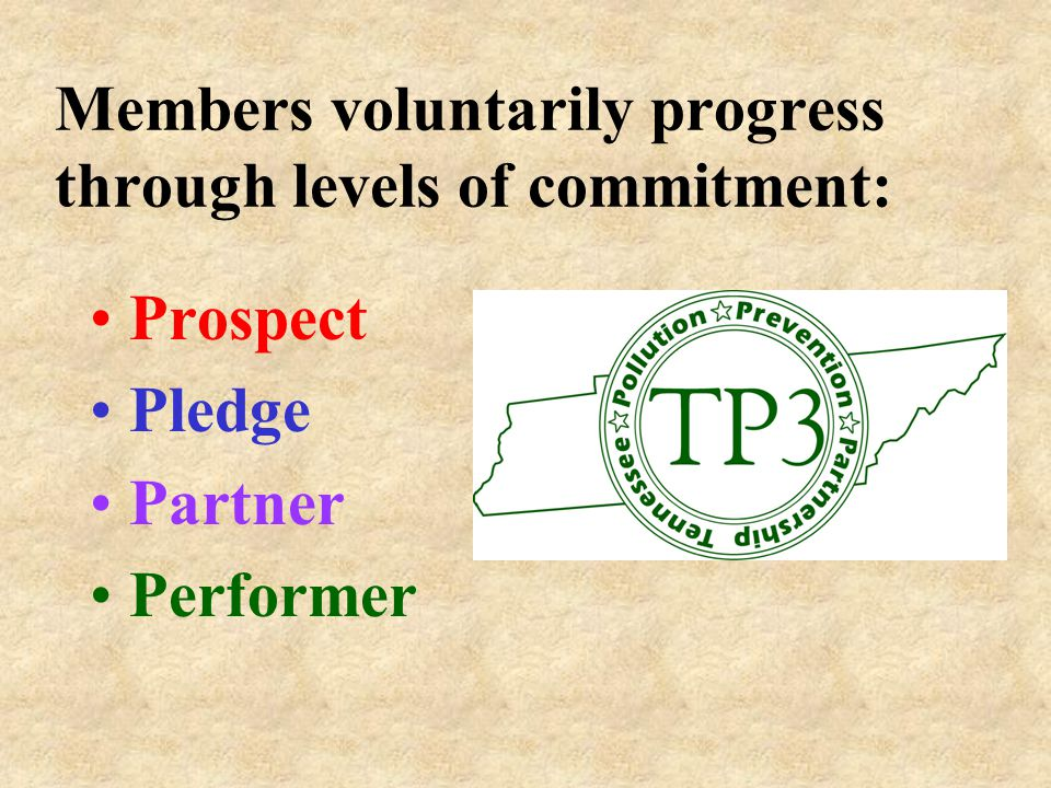 Members voluntarily progress through levels of commitment: Prospect Pledge Partner Performer