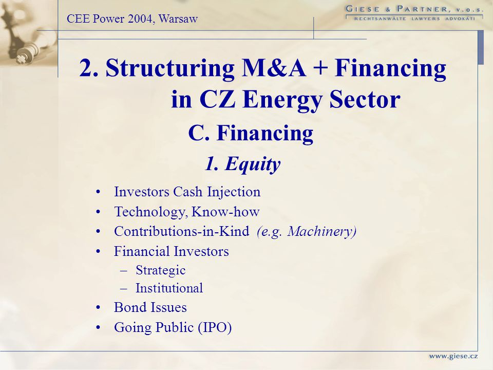 CEE Power 2004, Warsaw Investors Cash Injection Technology, Know-how Contributions-in-Kind (e.g.