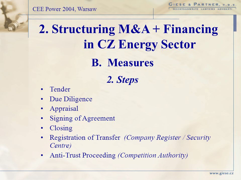 B. Measures 2. Steps Tender Due Diligence Appraisal Signing of Agreement Closing Registration of Transfer (Company Register / Security Centre) Anti-Tr