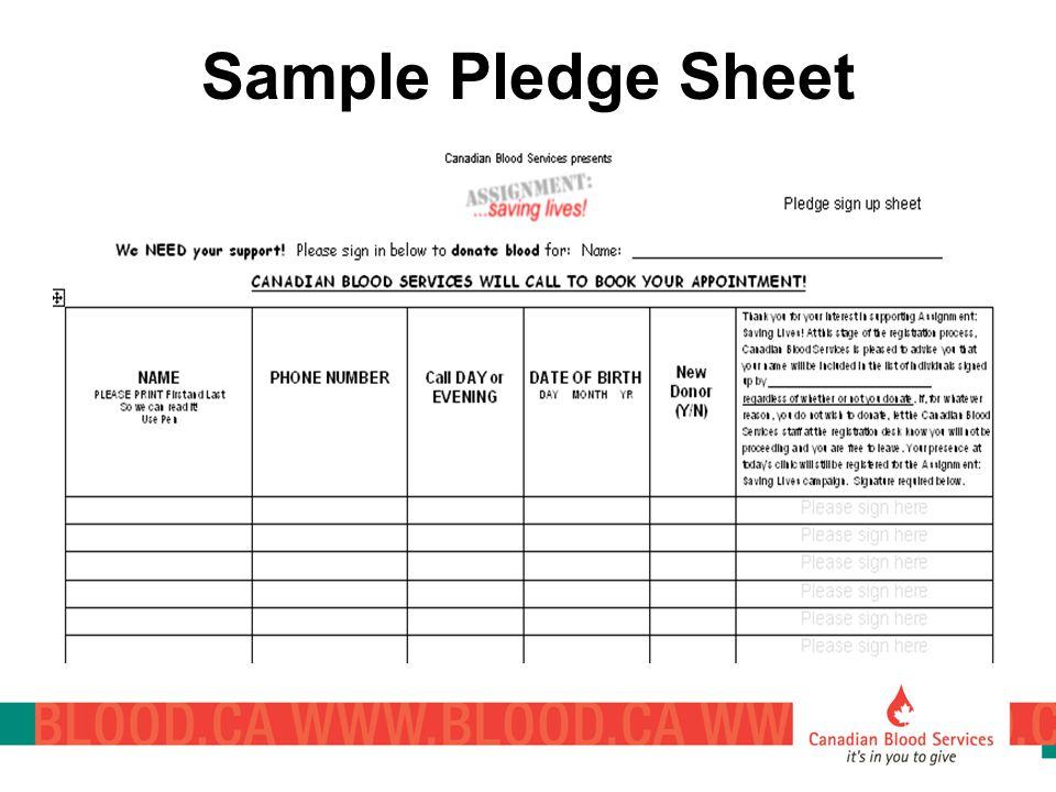 Sample Pledge Sheet