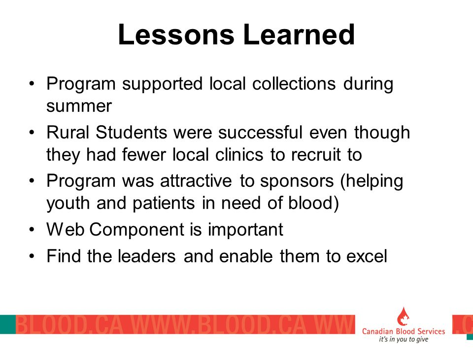 Lessons Learned Program supported local collections during summer Rural Students were successful even though they had fewer local clinics to recruit to Program was attractive to sponsors (helping youth and patients in need of blood) Web Component is important Find the leaders and enable them to excel