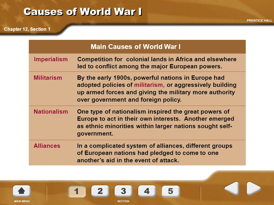Causes of World War I Competition for colonial lands in Africa and elsewhere led to conflict among the major European powers. Imperialism Main Causes