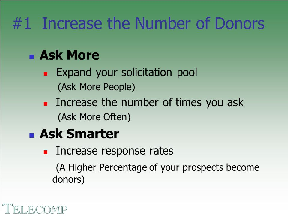#1 Increase the Number of Donors Ask More Expand your solicitation pool (Ask More People) Increase the number of times you ask (Ask More Often) Ask Sm