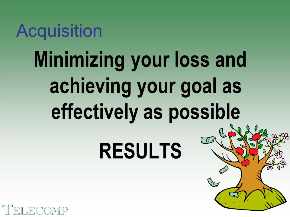 Acquisition Minimizing your loss and achieving your goal as effectively as possible RESULTS