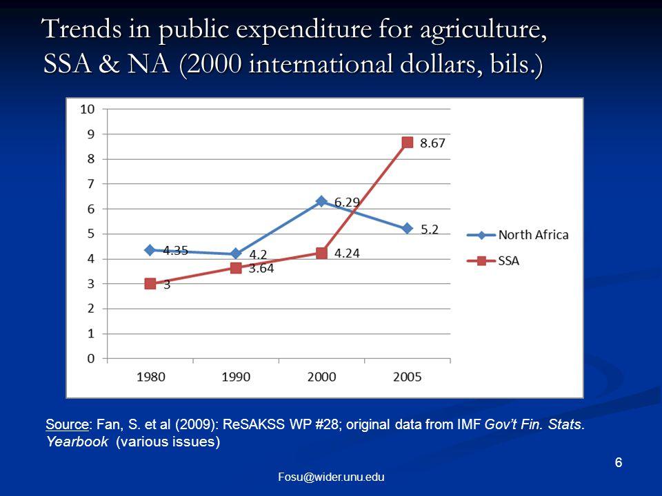 7 Fosu@wider.unu.edu Trends in public expenditure composition (%): SSA and Africa Trends in public expenditure composition (%): SSA and Africa Source: Fan, S.