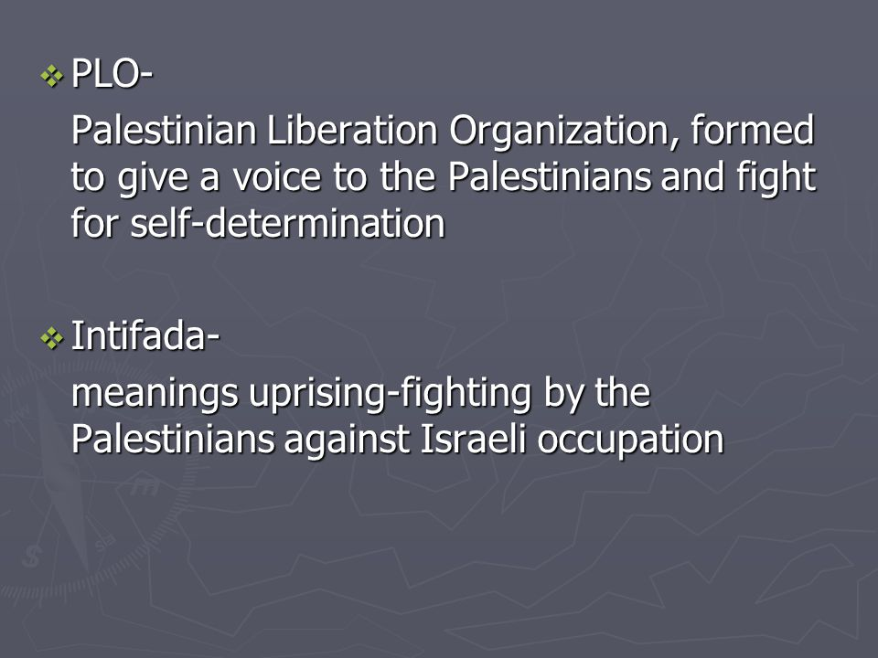  PLO- Palestinian Liberation Organization, formed to give a voice to the Palestinians and fight for self-determination  Intifada- meanings uprising-fighting by the Palestinians against Israeli occupation