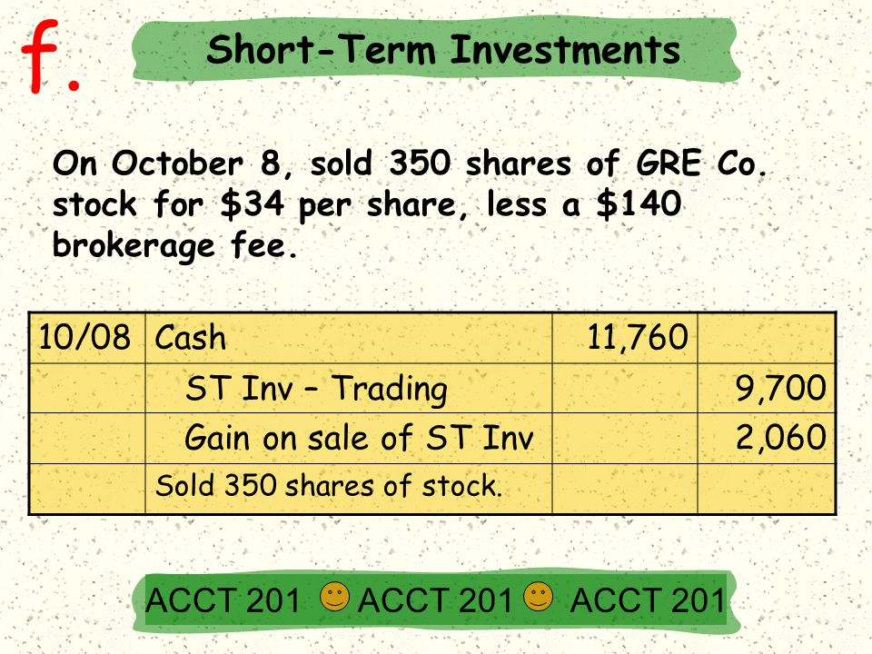 f. On October 8, sold 350 shares of GRE Co. stock for $34 per share, less a $140 brokerage fee.