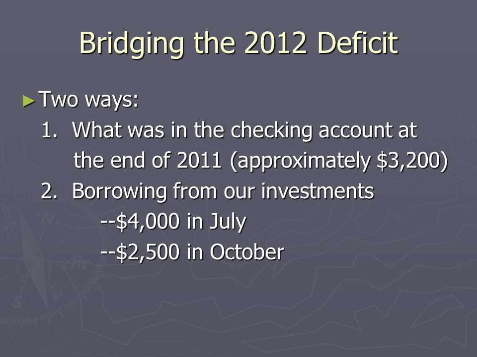 Bridging the 2012 Deficit ► Two ways: 1.What was in the checking account at 1.