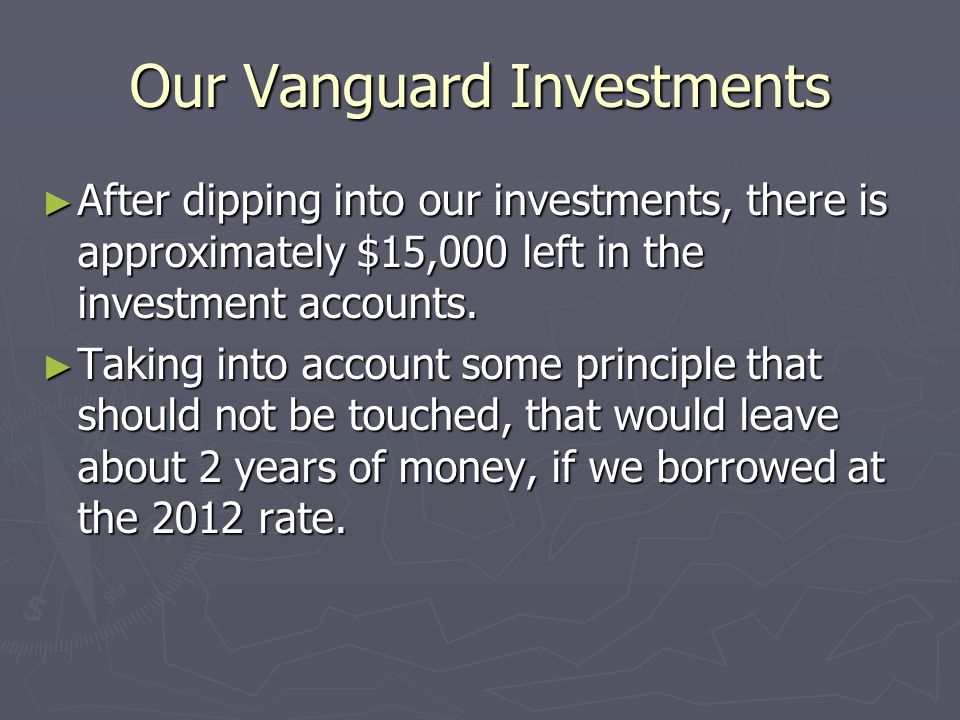 Our Vanguard Investments ► After dipping into our investments, there is approximately $15,000 left in the investment accounts.