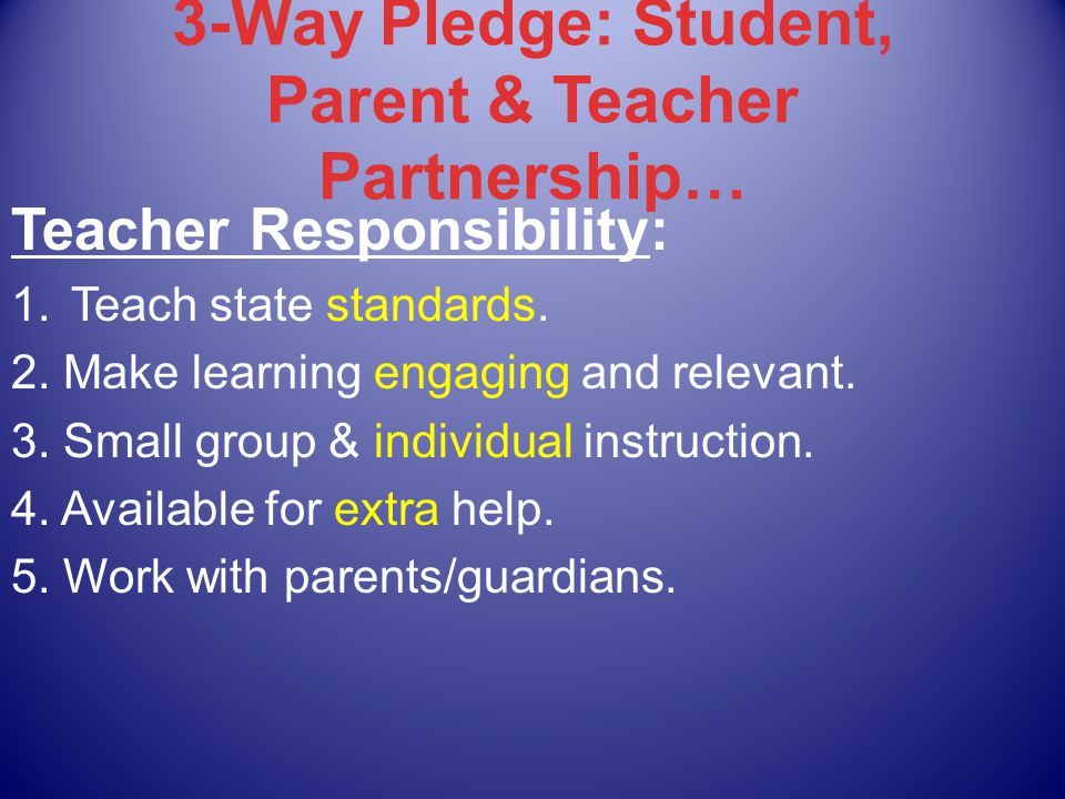 3-Way Pledge: Student, Parent & Teacher Partnership… Teacher Responsibility: 1.Teach state standards.