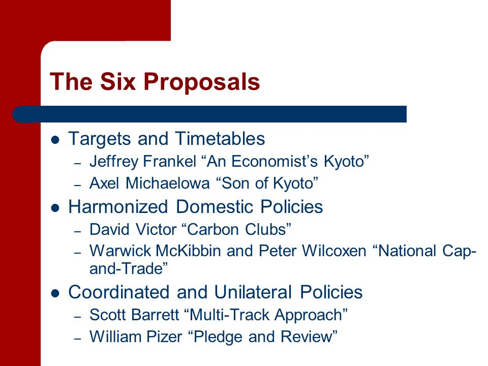 The Six Proposals Targets and Timetables – Jeffrey Frankel An Economist's Kyoto – Axel Michaelowa Son of Kyoto Harmonized Domestic Policies – David Victor Carbon Clubs – Warwick McKibbin and Peter Wilcoxen National Cap- and-Trade Coordinated and Unilateral Policies – Scott Barrett Multi-Track Approach – William Pizer Pledge and Review