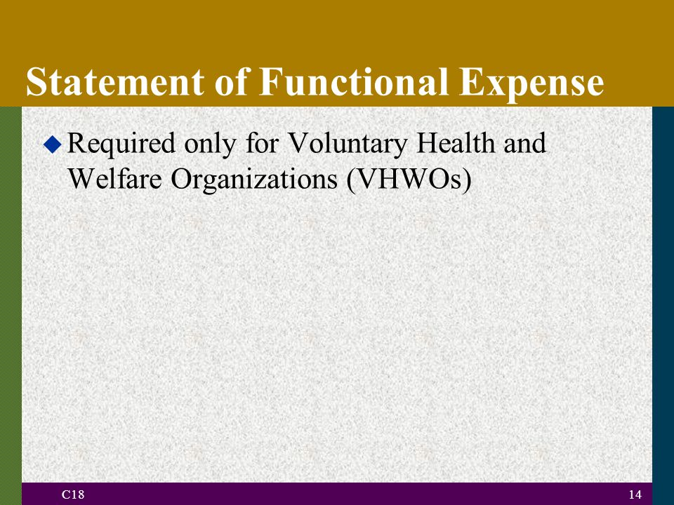 C1814 Statement of Functional Expense u Required only for Voluntary Health and Welfare Organizations (VHWOs)